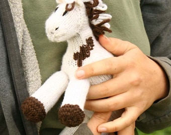 Missy: Paint Pony Stuffed Animal Horse Knitted Paint Girl's Waldorf Toy All Natural Wool