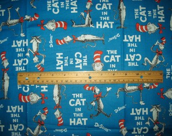 CAT In The HAT, 18X21, Cotton Fabric, Fat quarter, scrap, remnant, Teal, Blue, Dr Seuss, craft, fabric