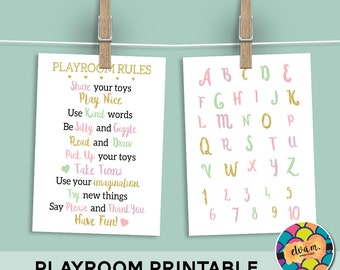 Playroom Rules and ABC Sign Bundle. Pink Sparkle Playroom Wall Decor. Playroom Rules and Alphabet Printable. *INSTANT DOWNLOAD*