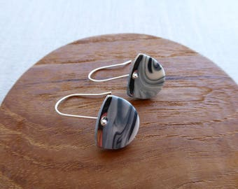 White Gold Lined Half Moon Hook Earrings in Black Marble