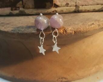 Amethyst star dangle earings