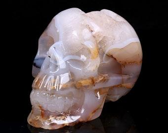 4.56 Inch Natural White Agate Geode Quartz Crystal Cluster Carved Skull ,Healing Skull S047