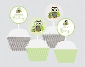 Owl Baby Shower Cupcake T...