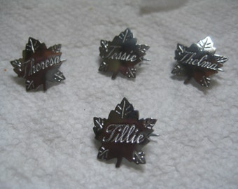 Liberty Silver Maple Leaf Name Pins Letter T