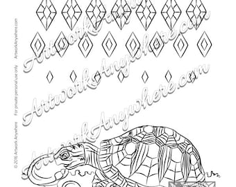 "Lizards, Turtles, and Frogs ""Diamond Pattern Turtle with Mushroom"" Adult coloring page printable download from Artwork Anywhere ~hand drawn~"