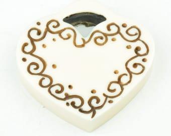 Bakelite Heart Pendant 50mm sold by each N5005/WT
