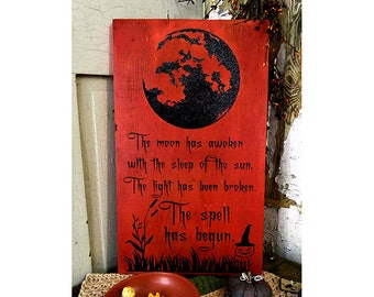 The Spell Halloween Witch Decor, Witchcraft Decorations, Modern Witchy Wood Sign, Witches Cottage Decor, Spooky Pagan Wall Art, Witchy Home