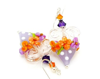 Purple Orange Earrings, Heart Earrings, Valentine Earrings, Lampwork Earrings, Polka Dot Earrings, Glass Bead Earrings, Floral Earrings