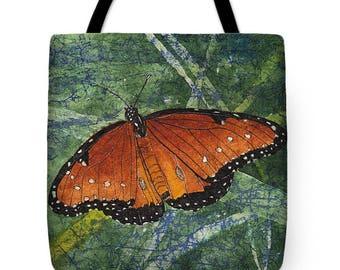 Mother's Day Gift Idea Watercolor Batik Orange Queen Butterfly Tote Purse Bag