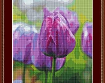 Purple Tulips Cross Stitch Pattern /Digital PDF Files /Instant downloadable