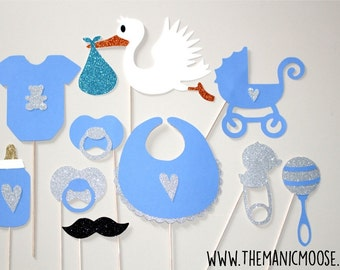 Baby Shower Props - Baby Boy Photo Props - Set of 10 Glitter Photo Booth Props - Blue and Silver Glitter Photo Props
