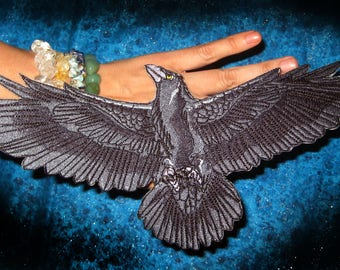 Huge Flying Raven Crow Wings Open Bird Iron on Patch