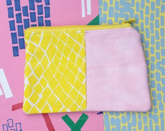 Half and half front diamond and pink denim coin purse / zipper pouch - limited edition - handmade and hand screen printed