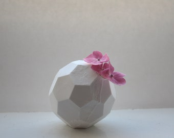 Honeycomb white vase made from stoneware fine bone china - hexagonal polyhedron - geometric decor