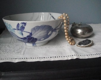 Vintage blue, grey and white Asian bowl (less than perfect)