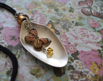 Vintage Spoon Necklace with Monarch Butterfly / Handmade / Unique Gift / Upcycled