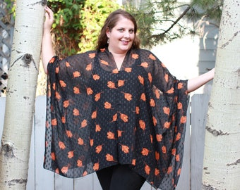 Black and Orange Floral Shawl Top
