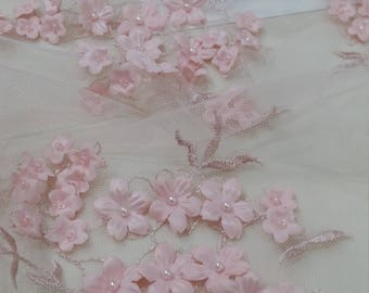 Pink lace fabric, beaded luxury 3D lace fabric, light baby pink color hand beaded high quality lace fabric by the yard Lace To Love EVS144BF