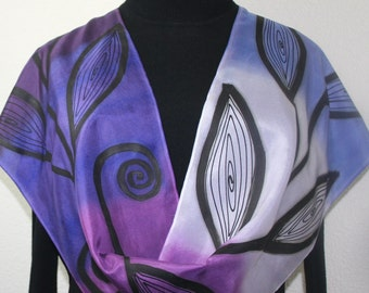 Purple Lavender Black Hand Painted Silk Shawl GARDEN Of LOVE-2, in Several SIZES. Elegant Handmade Silk Scarf. Birthday, Anniversary Gift