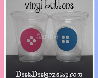 24 Gender reveal Cute as Button vinyl decals 12 oz. 16 oz or 20 oz. clear party cups Baby shower decorations girl boy sprinkle party