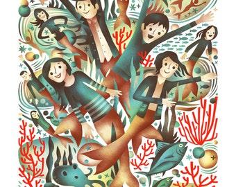 Mer Folks  - 13 x 19 Digital Mermaid Print