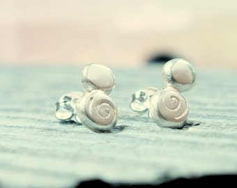 Silver stud earrings, silver pebble studs with spiral design