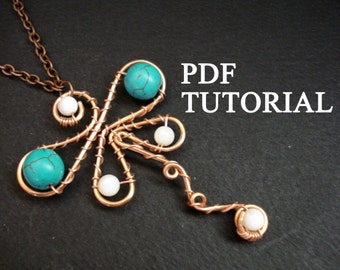 Pendant Tutorial, Wire Wrap Tutorial, PDF Tutorial, Dragonfly Tutorial, Jewelry Tutorial, Jewelry Instructions, Pattern Instructions, DIY