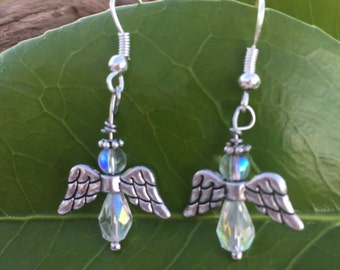 Crystal Angel Earrings, Angelic Earrings, Christmas Earrings, Gift Ideas, Angel Wings, Wing Earrings, Dangle Earrings, Handmade Jewelry