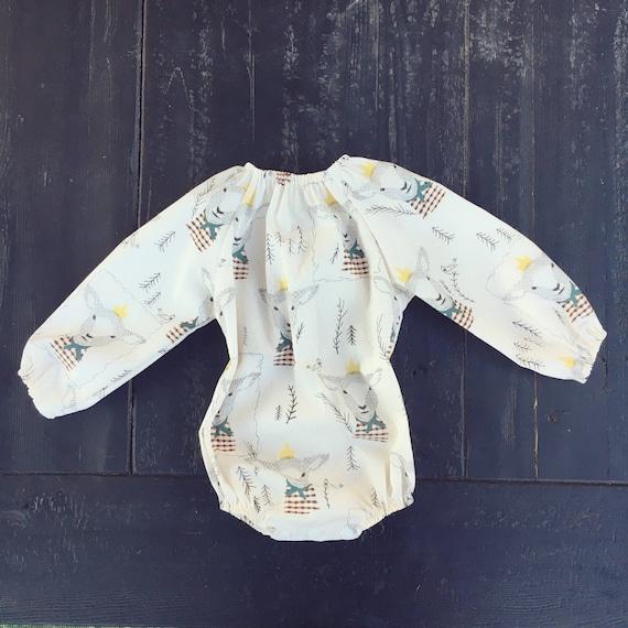 Long Sleeve Organic Plaid Baby Girl Romper