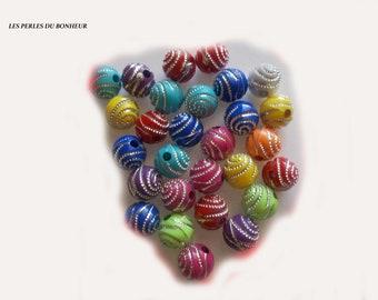 set of 10 curly acrylic beads