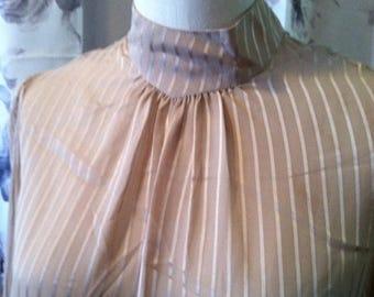 35% off Sale Retro work blouse beige medium size 14 mock turtle neck sheer