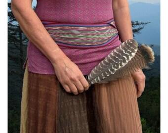Earth Tone Brown Sash SA08 - Bohemian Belt - Boho Accessories - Guatemalan Textiles - Ikat Fabric Sash - Reenactment Clothing - LARP Belt