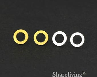 4pcs (2 Pairs) Silver, Golden Circles Stud Earring, Nickel Free, High Quality Brass Earring Post - ED430