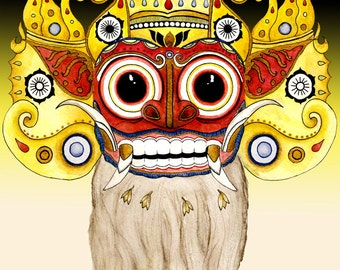 Mythology Barong Bali Lion Demon Spirit 8x10 art print mythological teeth fangs indonesian
