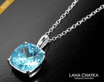 Aquamarine Blue Crystal Necklace, Swarovski Aquamarine Square Necklace Light Blue Silver Necklace Bridal Bridesmaid Necklace Blue Pendant