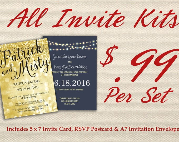 Affordable Wedding Invitation Set Printed with RSVP -  Cheap, Laser, Gold, RSVP, Elegant, Printable, Template, Floral, Art Deco, Modern