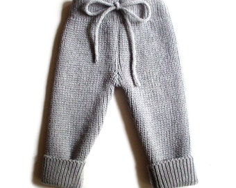 Babies/Children's knitted lambswool pants/leggings/trousers/toddler/infant/natural/thick/