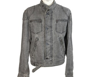 Roberto Cavalli Class Jeans Jacket Linen Cotton Vintage Gray