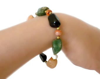 Multicolored Agate Stone Bracelet - Multicolored Bracelet, Agate Bracelet, Stone Bracelet, Green and Orange Bracelet, Large Size Bracelet