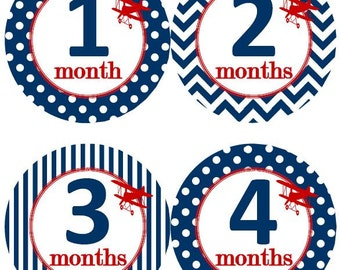Baby Monthly Milestone Growth Stickers Navy Red Bi-planes Biplanes Airplane Planes MS526 Nursery Theme Baby Shower Gift Baby Photo Prop