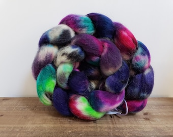 Superwash Bfl- bluefaced leicester- combed- wool top- roving- 4oz- Hand Painted-Hand Dyed- A little Voodoo