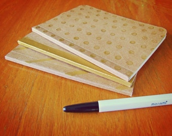 3 Handmade Gold Painted Notebooks Set, Pocket Journals, Original Mini Diaries and Jotters, Decorated Journals