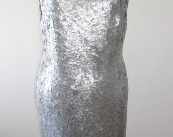 1980s Vintage Silver Sequin Wiggle Dress. Fitted with spaghetti straps.