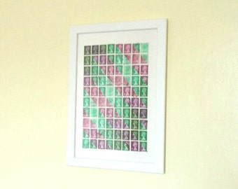 Purple Green Postage Stamp Art | Framed Stripe Wall Art | Abstract Illusion Office Decor | Recycled Collage Art, Upcycled Retro Hipster Gift