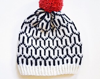 Knitting Pattern, Geometric Knitting Pattern, Black and White Beanie, Knitted Beanie, Fair Isle, Fair Isle Knitting Pattern, Lux Beanie