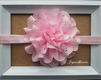 Pink baby headband, pink eyelet headband, baby headbands, baby girl headband, infant headband, newborn headband, pink eyelet flower, pink