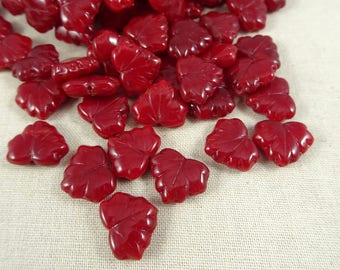 Maple Leaf Beads - Czech Glass Beads - Cherry Red Glass Maple Leaf - Red Opaline Maple Leaf (L/RJ-0506) -10x13mm - Qty. 8