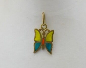 18k Yellow Gold Vintage Stained Glass Butterfly Pendant