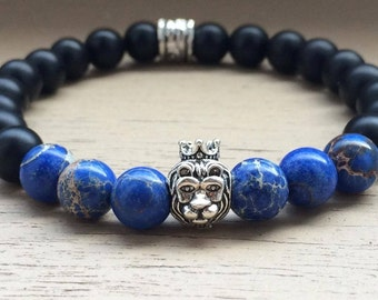 Lion bracelet for him and her - Beaded bracelet - Lion head bracelet - Bracelet for men and women - Black bracelet - Elastic bracelet