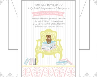 Baby Book Shower Invitation, Book Shower, Library Shower Invite, Baby Shower Invite, Book Party Invite, chair and books invite, teddy bear